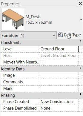 edit type of family in element properties