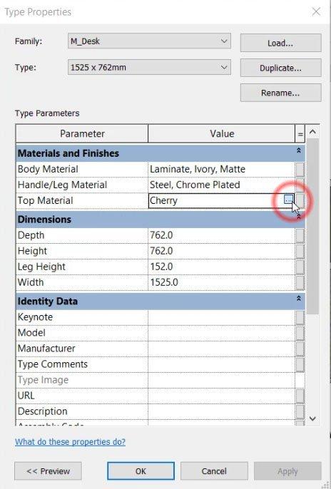 edit material properties