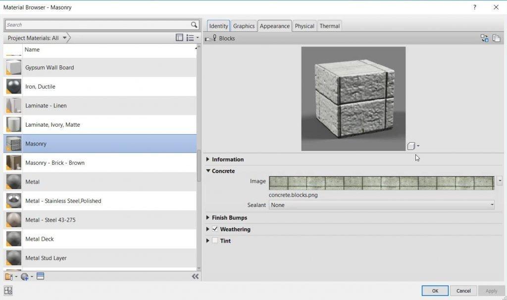 check render appearance in revit material properties