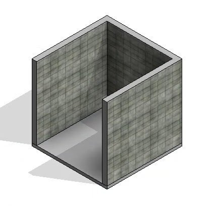 3D view of new wall material in revit